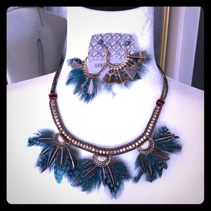 WorldMarket Peacock Feather Necklace and Earrings